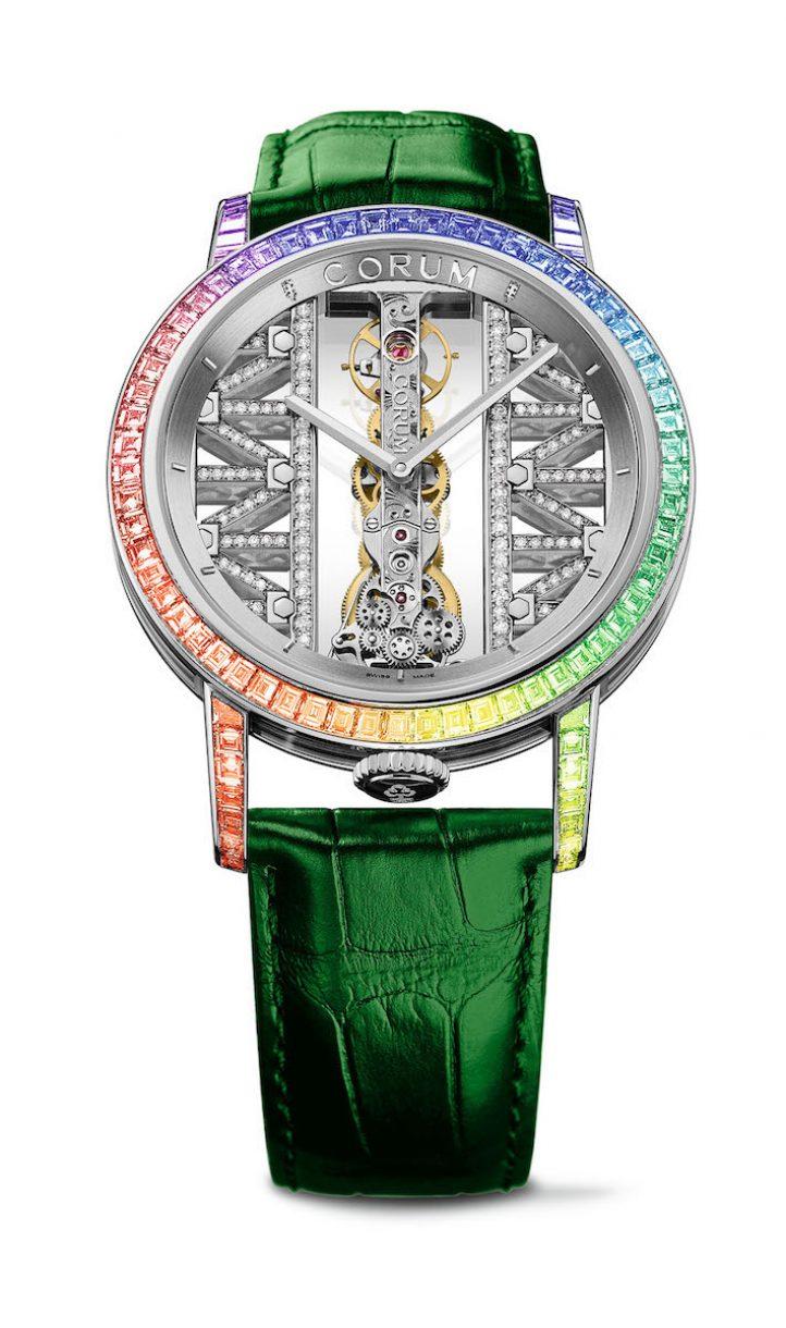 CORUM 金橋系列圓形鑽錶彩鑽白金錶殼款,錶徑43毫米,參考售價NTD 4,168,000,限量18只