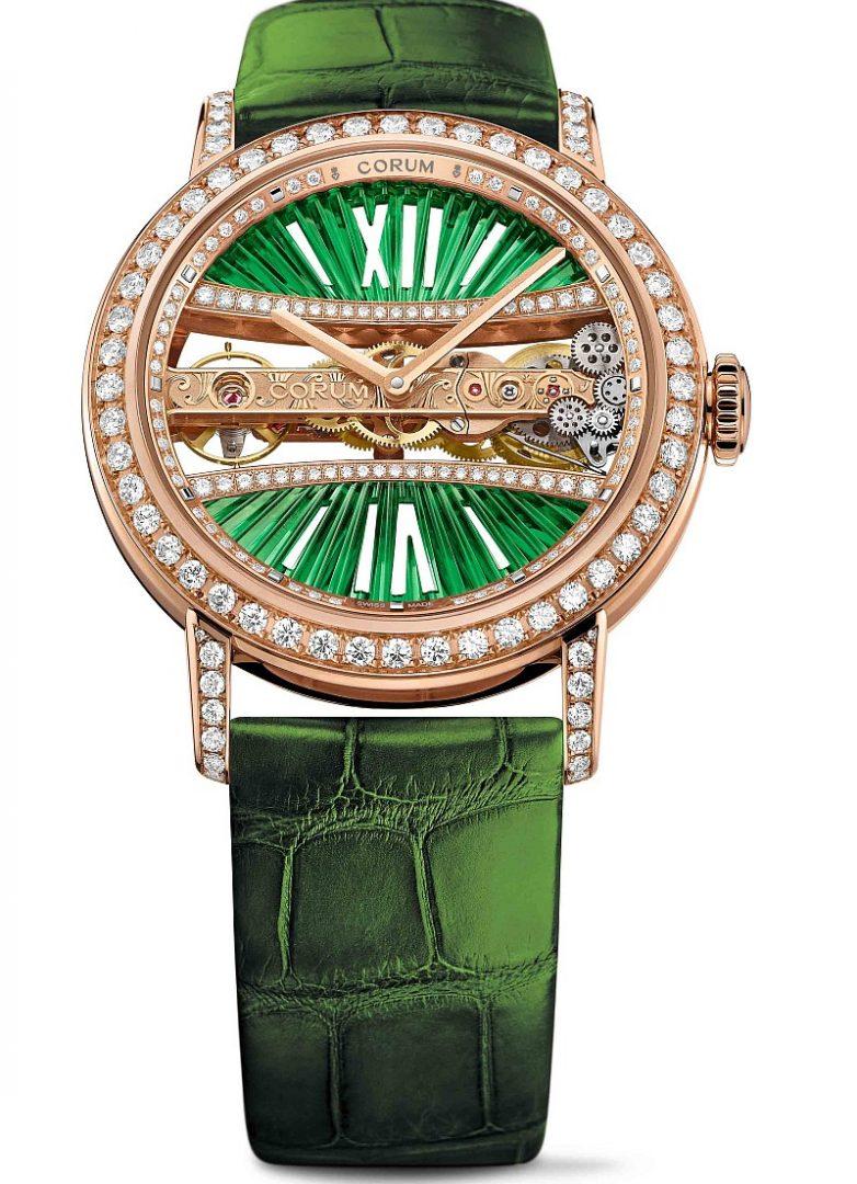 CORUM 金橋系列圓形鑽錶,玫瑰金錶殼,錶徑39毫米,建議售價NTD1,739,000。