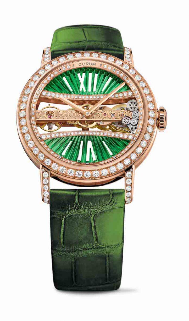 CORUM 金橋系列圓形鑽錶綠色玫瑰金錶殼款,錶徑39毫米,參考售價NTD 1,739,000