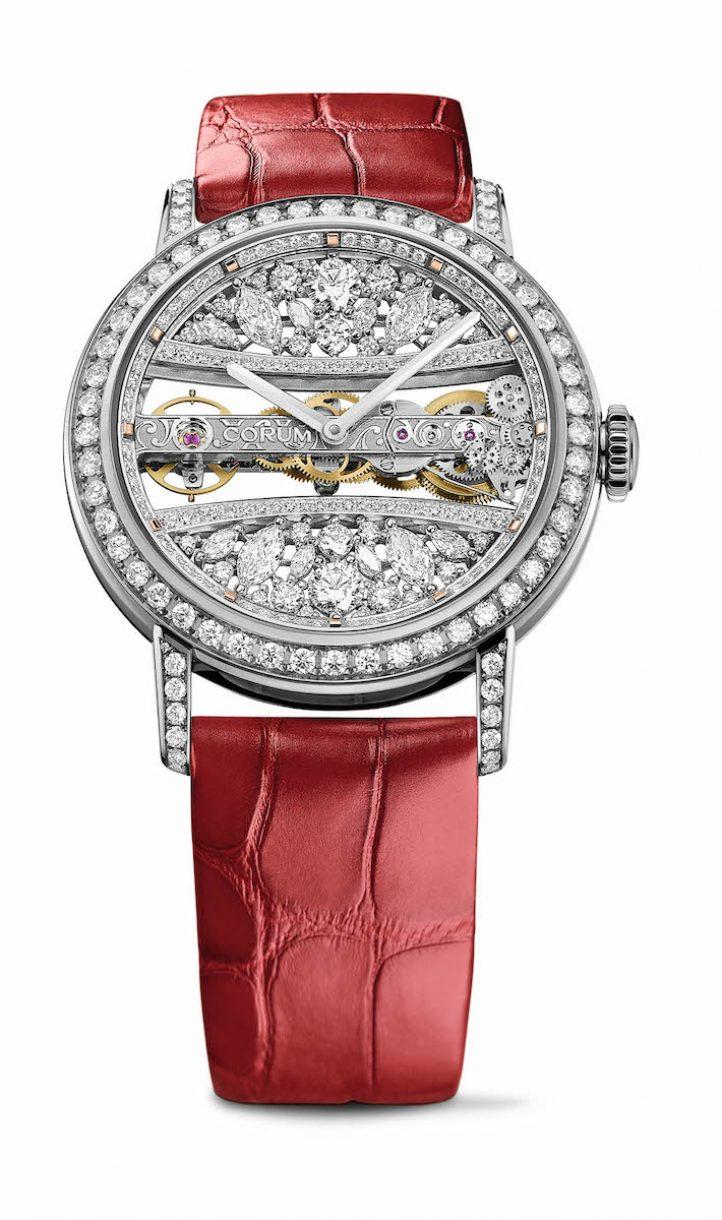 CORUM 金橋系列圓形蕾絲鑽錶白金錶殼款,錶徑39毫米,參考售價NTD 3,768,000
