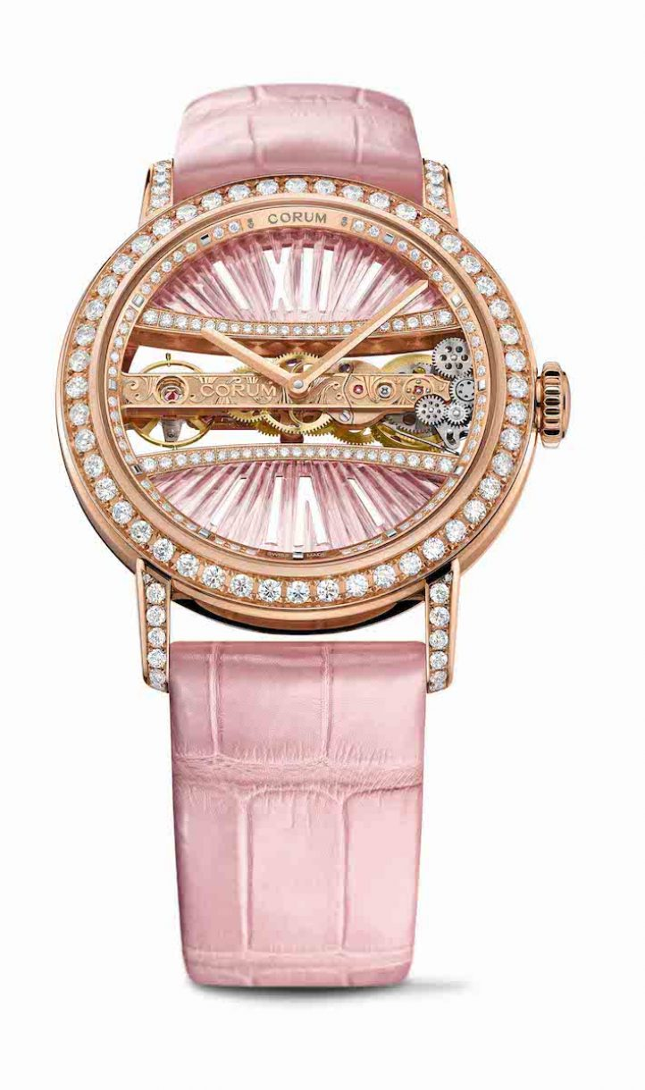 CORUM 金橋系列圓形鑽錶玫瑰金錶殼款,錶徑39毫米,參考售價NTD 1,739,000