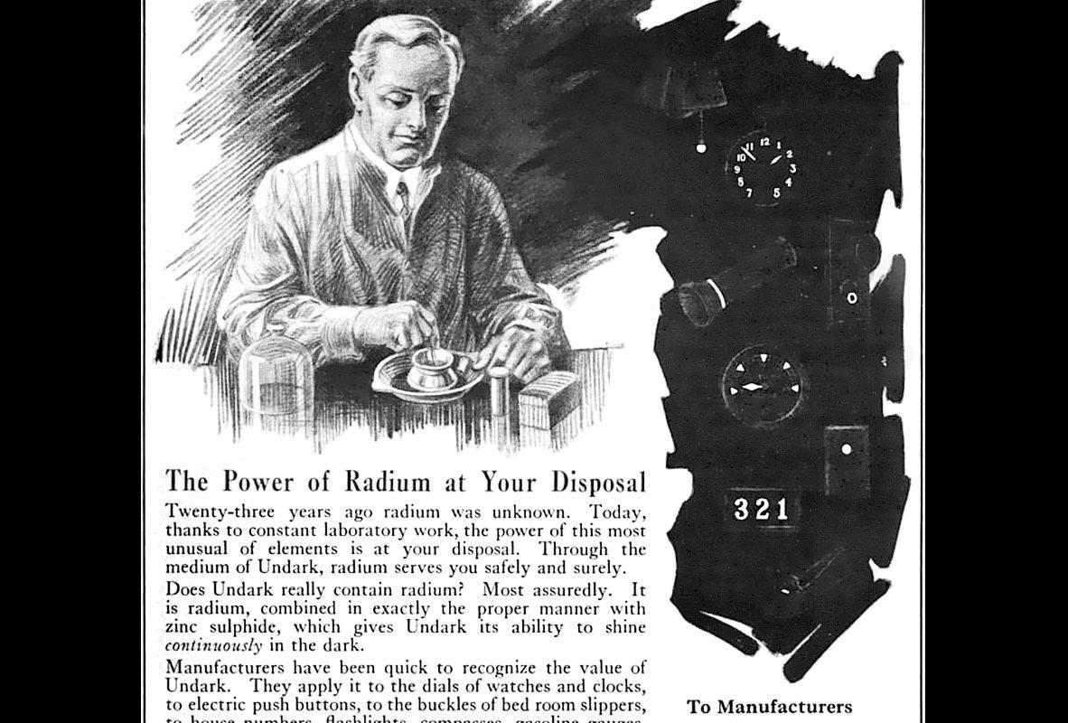 1921年Undark塗料的廣告。圖片來源:維基百科。