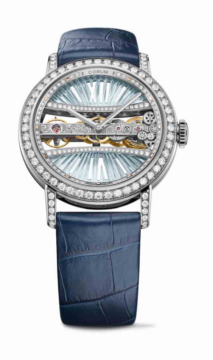 CORUM 金橋系列圓形鑽錶白金錶殼款,錶徑39毫米,參考售價NTD 1,932,000