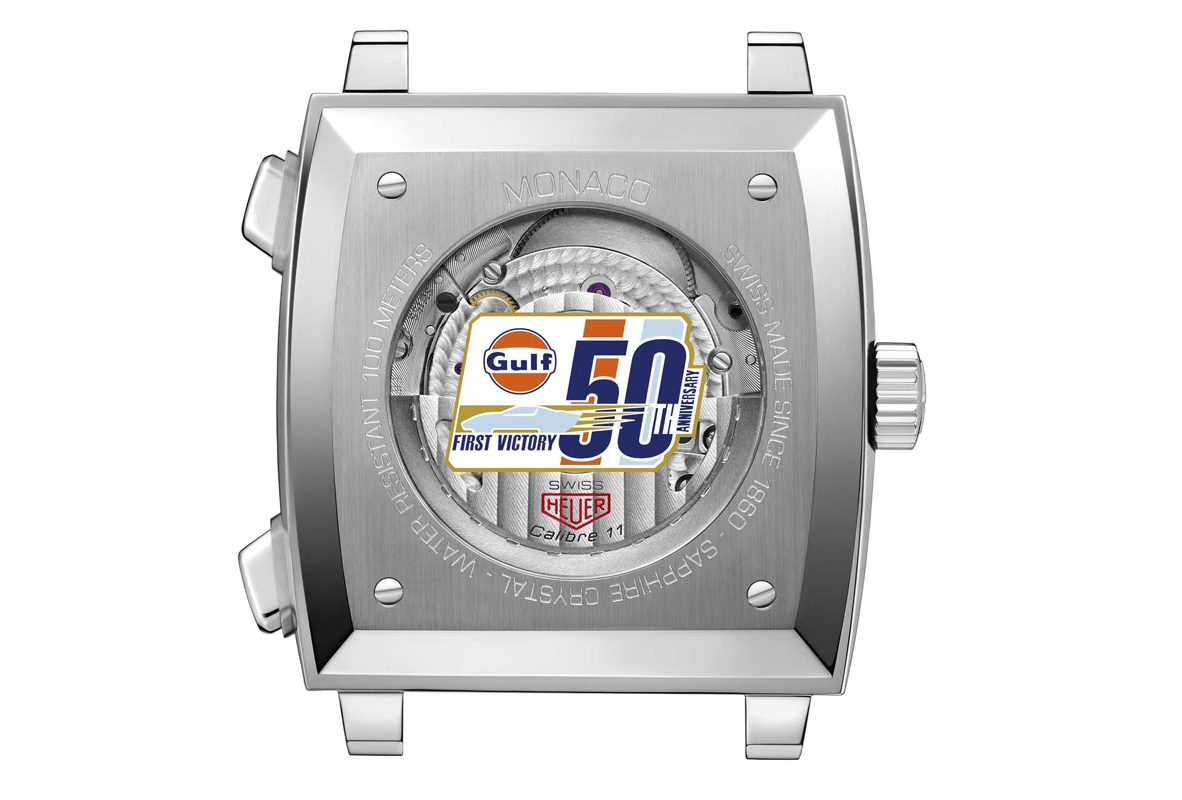 TAG Heuer Monaco Gulf 50週年特別版腕錶錶背,印有Gulf周年紀念特別標誌。