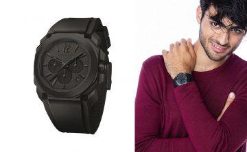 寶格麗新任義大利知名男歌手Matteo Bocelli為品牌大使,Jon Kortajarena帥氣演繹全黑OCTO系列腕錶