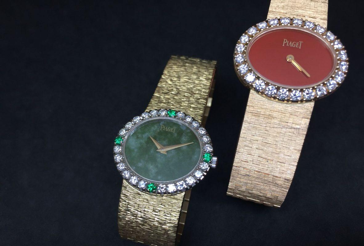 左為伯爵1972年的古董錶,也是美國第一夫人賈桂琳‧甘迺迪最愛的伯爵錶。右為現代Extremely Lady腕錶,紅瑪瑙錶盤。