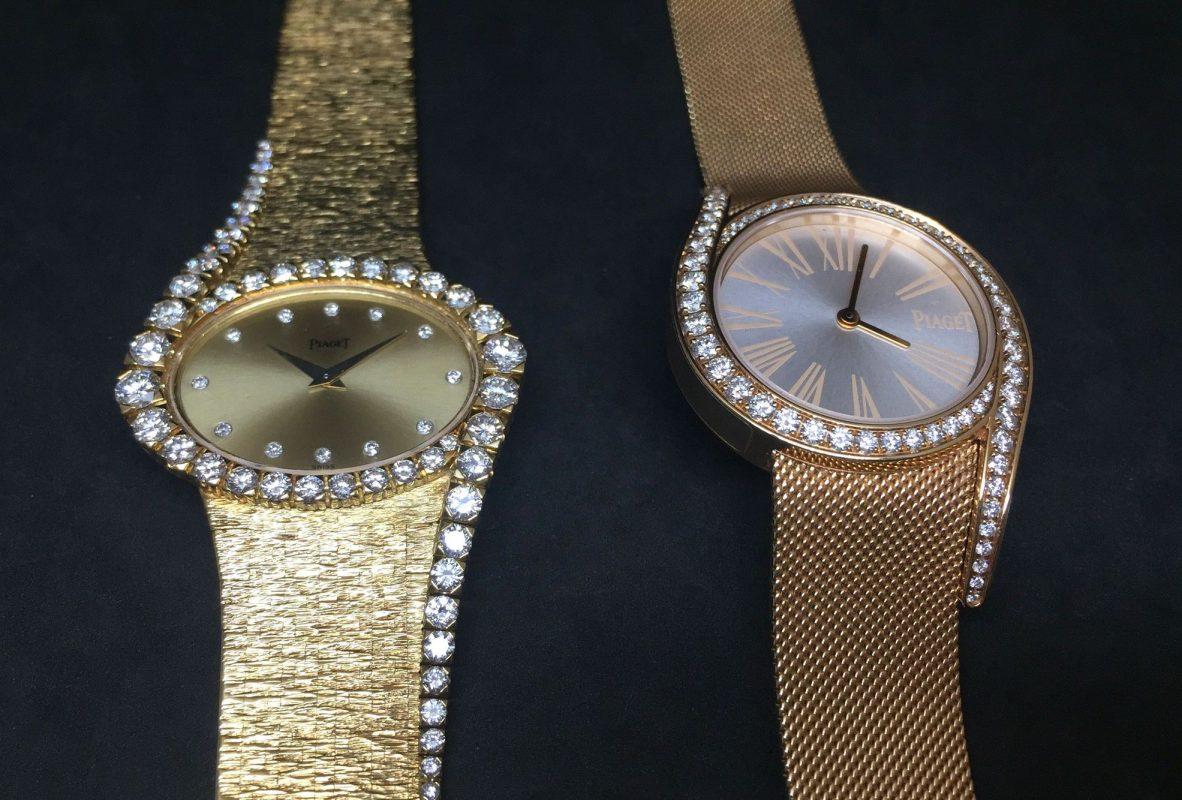 左為伯爵1973年設計的珠寶腕錶,啟發了為今日的Limelight Gala系列腕錶(右)。