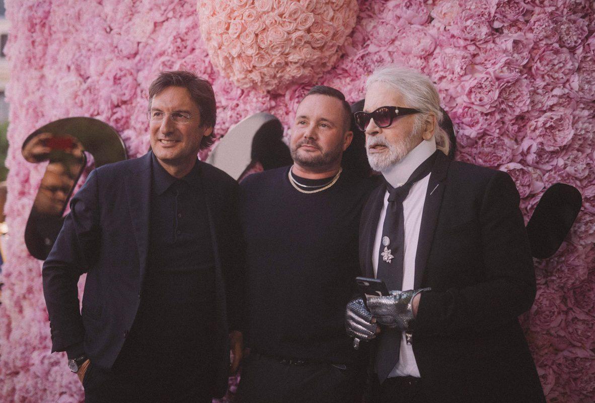(左起) Dior品牌首席執行官Pietro Beccari、Dior Homme創意總監Pietro Beccari、時尚大師Karl Lagerfeld