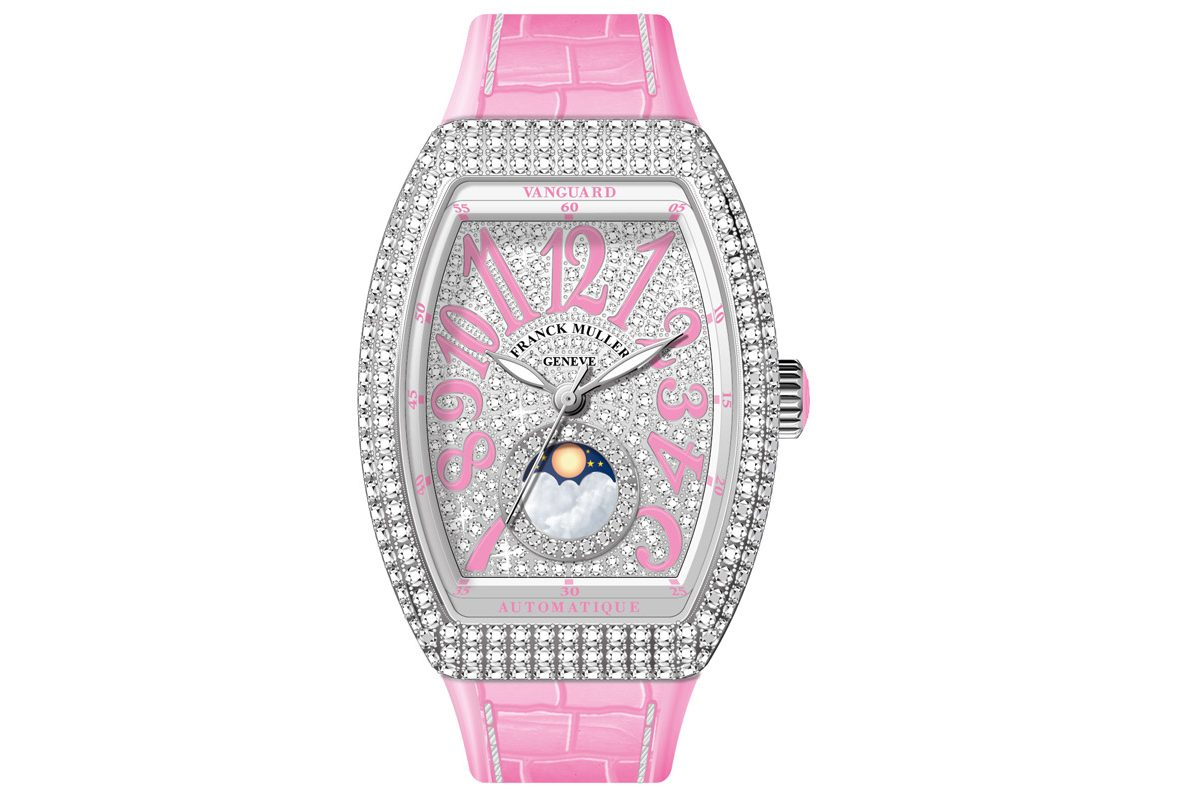 Vanguard Lady Moonphase 不鏽鋼鑽石腕錶,參考價NTD 980,000 。