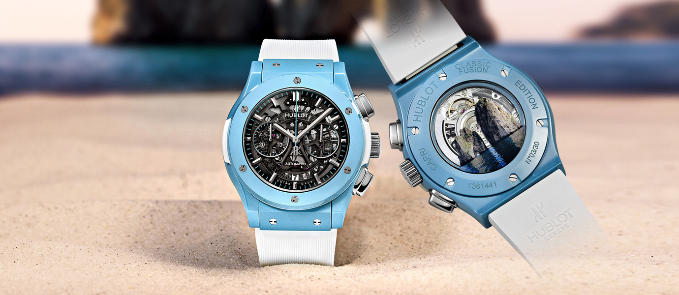 世界第一只冰藍色陶瓷錶殼:Hublot Classic Fusion Aerofusion Chronograph Capri (Video)