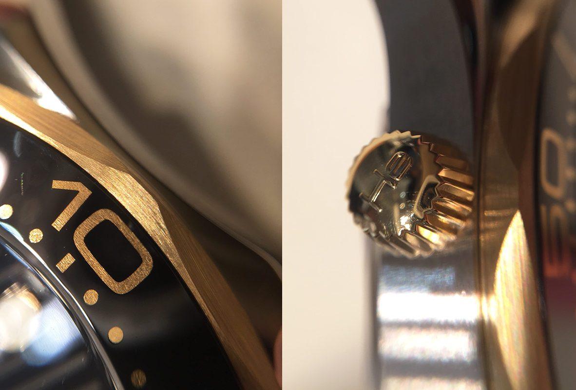 (左/右)錶圈上的Ceragold™瓷金刻度 / 腕錶10點鐘位置排氦裝置。