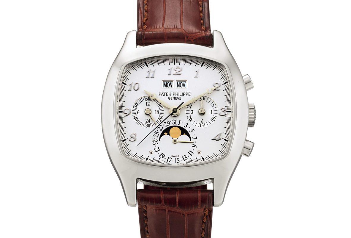 百達翡麗Ref. 5020鉑金萬年曆計時腕錶,年份1995年,估價為3,000,000-5,000,000港元。