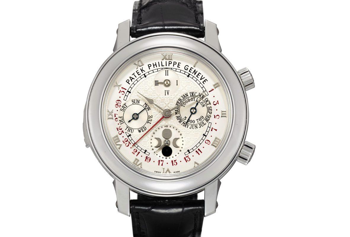 百達翡麗Ref. 5002-001「Skymoon Tourbillon」鉑金雙錶盤腕錶,年份約2013年,估價為7,500,000-12,000,000港元。