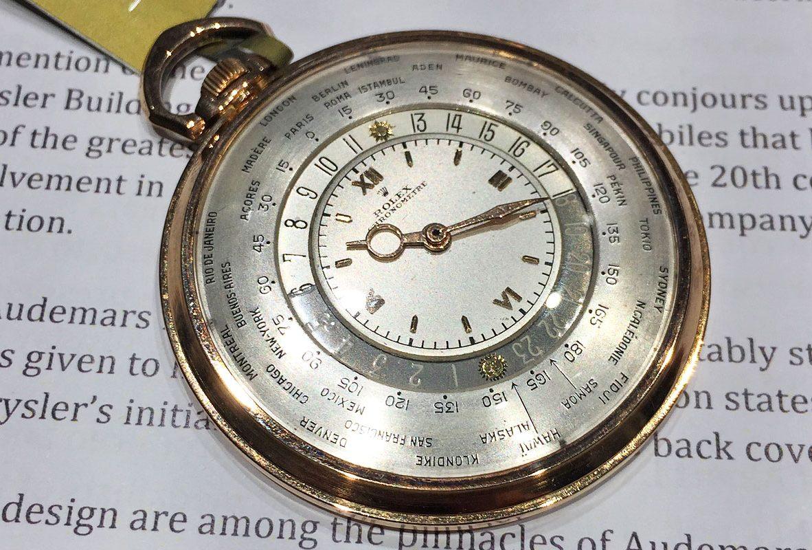 Rolex Ref. 4262世界時間懷錶,使用製錶師Louis Cottier發明的世界時區模組。