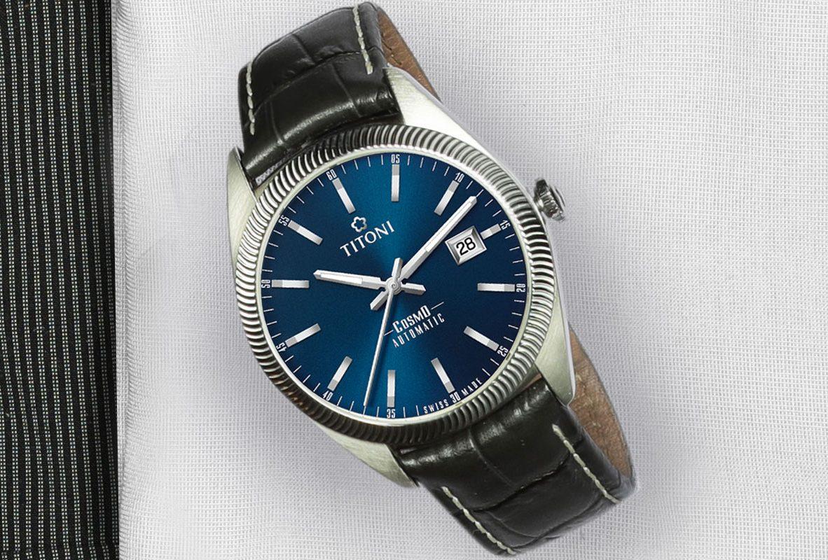 TITONI COSMO 878(藍面皮帶)