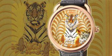 結合琺瑯與金雕:Hermes Arceau Tigre Royal腕錶