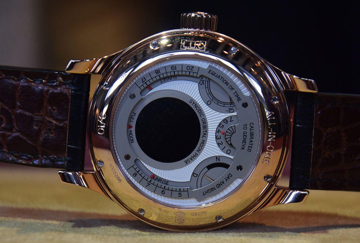 L.U.C All-In-One錶背,具有動力儲存顯示、時間等式、日夜顯示、日出、日落顯示以及軌道式月相顯示。