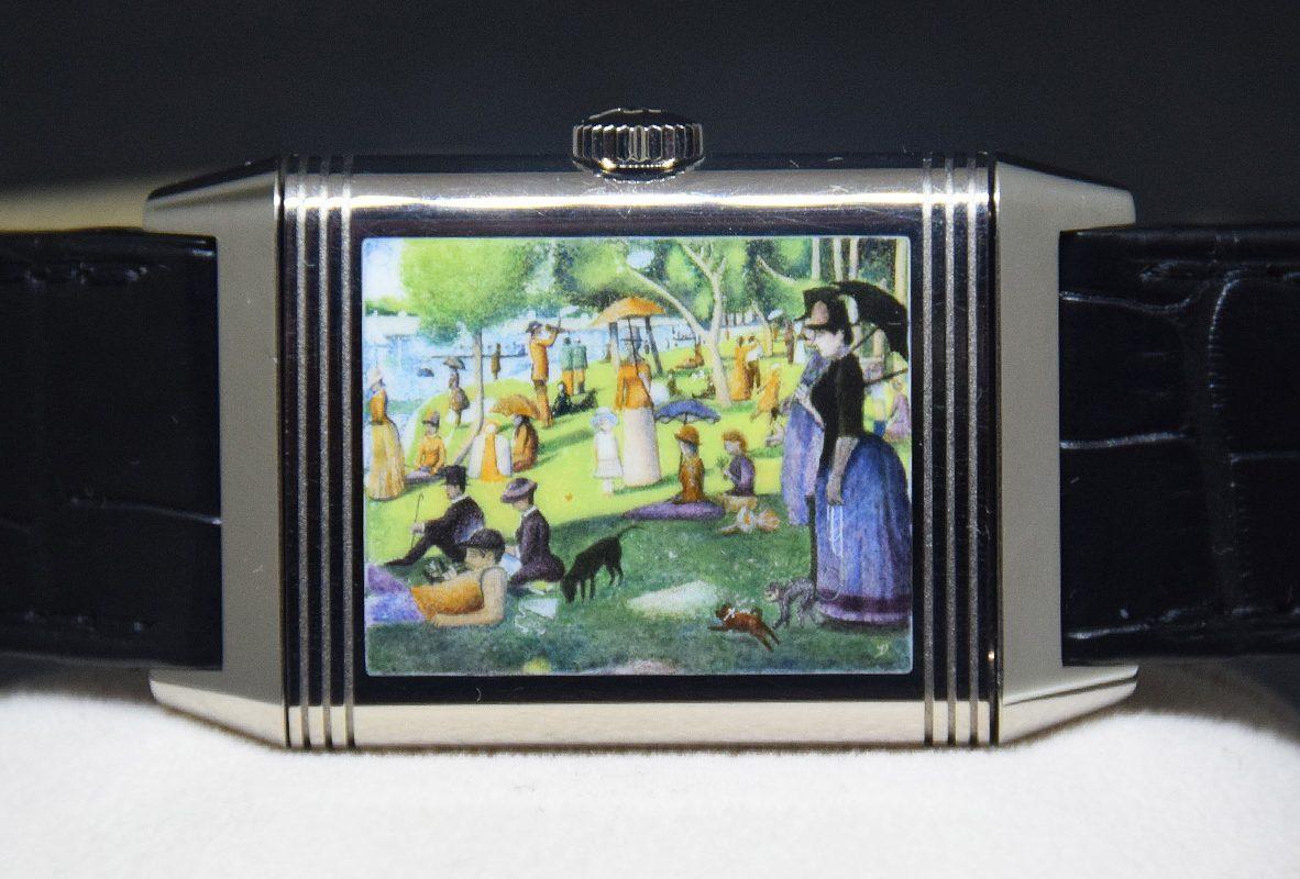 翻轉系列琺瑯腕錶《大碗島的星期天下午》,限量8只,參考售價NTD 2,700,000。