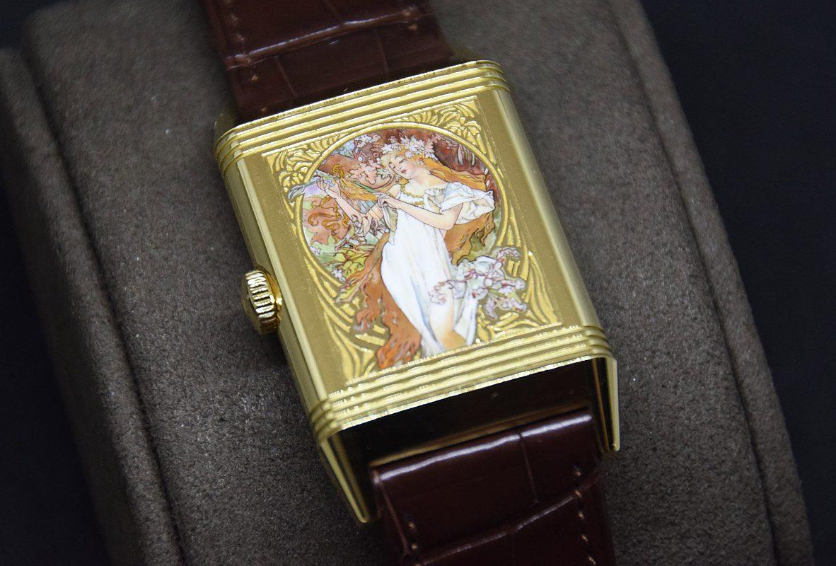 翻轉系列琺瑯腕錶《四季-春》, 黃金錶殼,限量8只,參考價NTD 3,080,000。