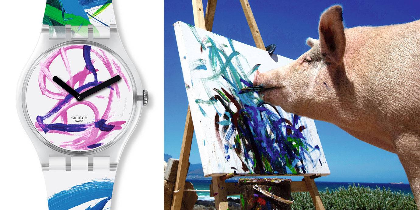 攜手天才小豬畫家Pigcasso:Swatch「FLYING PIG BY MS. PIGCASSO」藝術限量錶