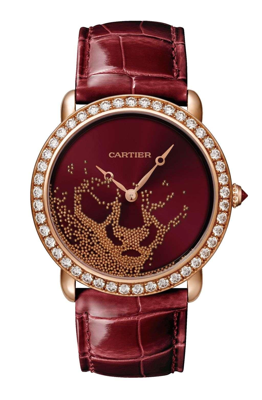 卡地亞 Révélation d'une Panthère 金珠流沙美洲豹紅色真漆腕錶