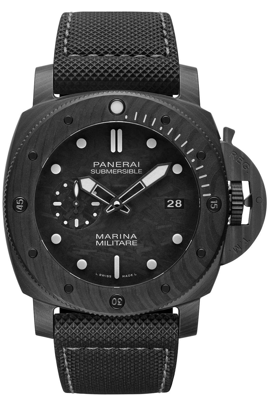 沛納海 Submersible Marina Militare Carbotech 碳纖維專業潛水腕錶 ─ 47毫米 PAM979