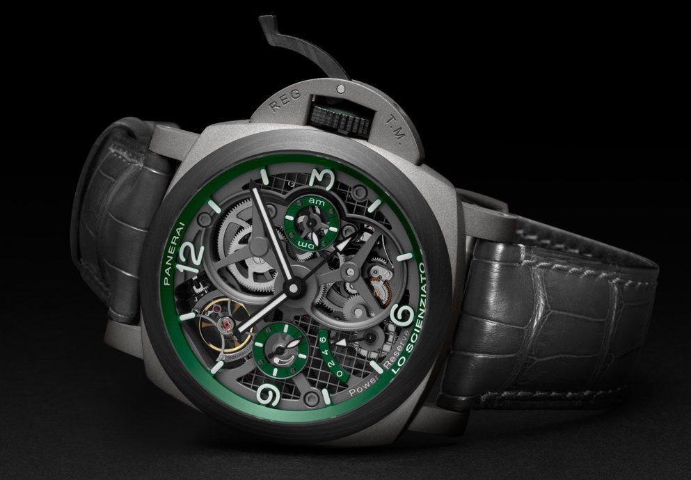 高科技與綠色鏤空的魅力:Panerai Luminor Tourbillon GMT陀飛輪兩地時間腕錶