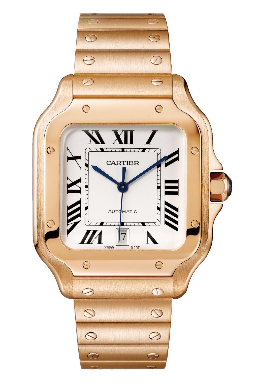 卡地亞 Santos de Cartier 玫瑰金腕錶大型款