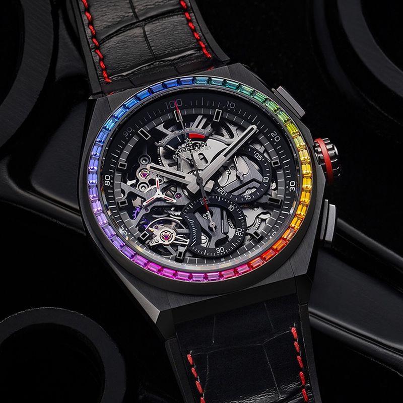 ZENITH Defy El Primero 21 Rainbow,黑色陶瓷表殼,錶圈鑲嵌44顆、約重2.46克拉彩寶,錶徑44毫米,時、分、小秒針、計時碼錶,El Primero 9004自動上鍊機芯,藍寶石水晶鏡面透明底蓋,防水100米,參考價NTD780,000。