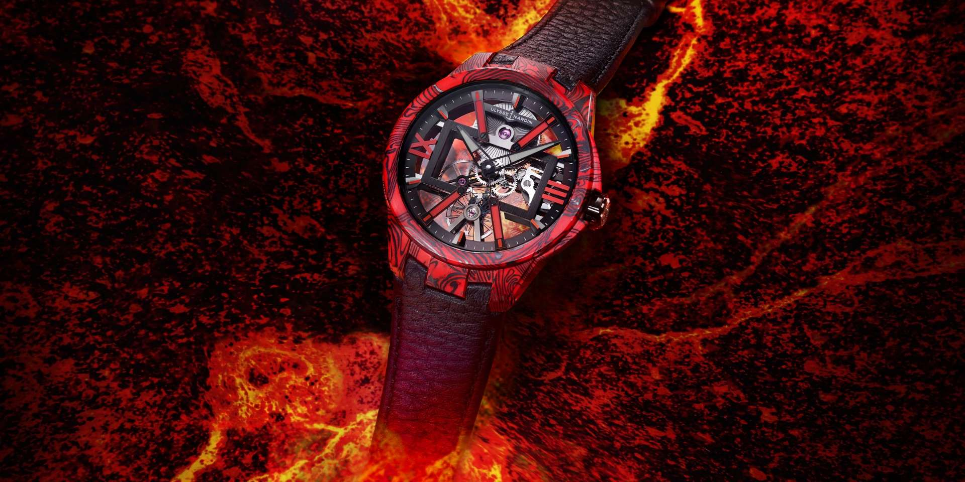 有如火山爆發的熱情時刻:Ulysse Nardin Skeleton X Magma雅典碳纖維鏤空岩漿腕錶