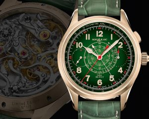 用和闐玉製作錶盤:萬寶龍1858系列自製機芯追針計時腕錶限量款8