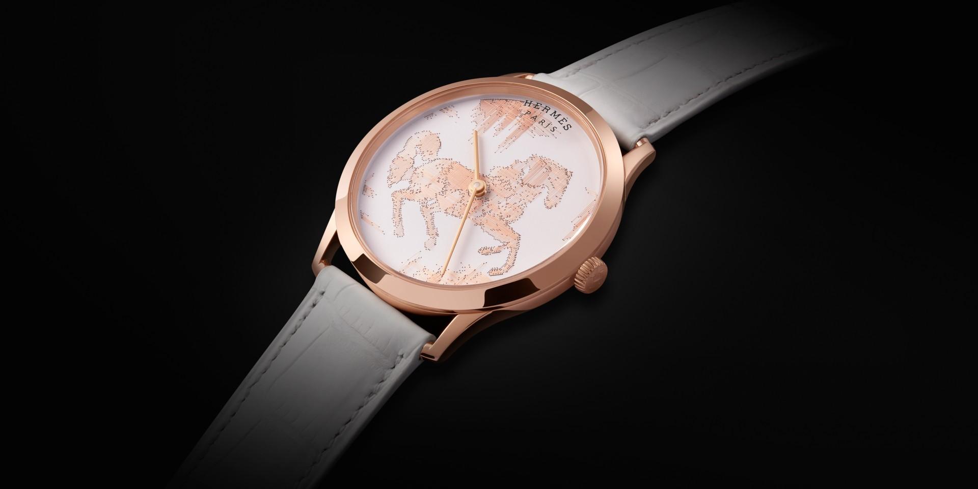 駿馬賀春:Hermès 愛馬仕 Slim d'Hermès Cheval Ikat 金線刺繡工藝腕錶