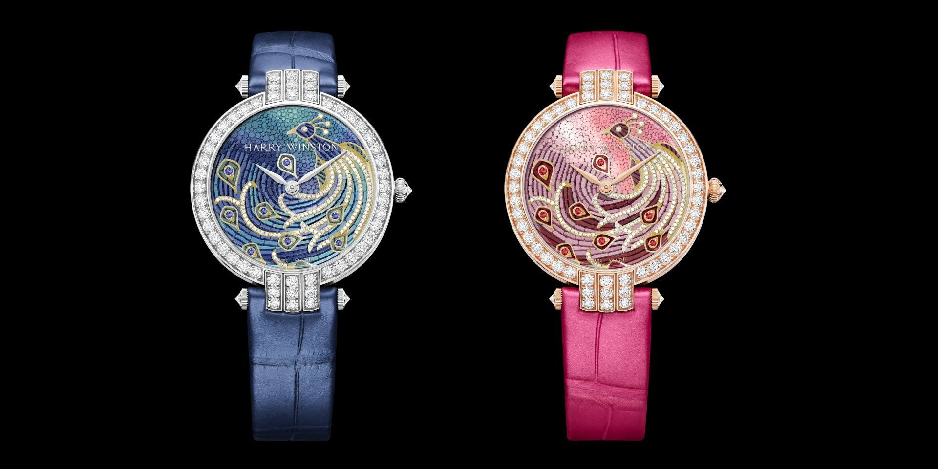 孔雀展屏:海瑞溫斯頓 Premier 卓時™系列Precious Peacock 36mm 自動腕錶