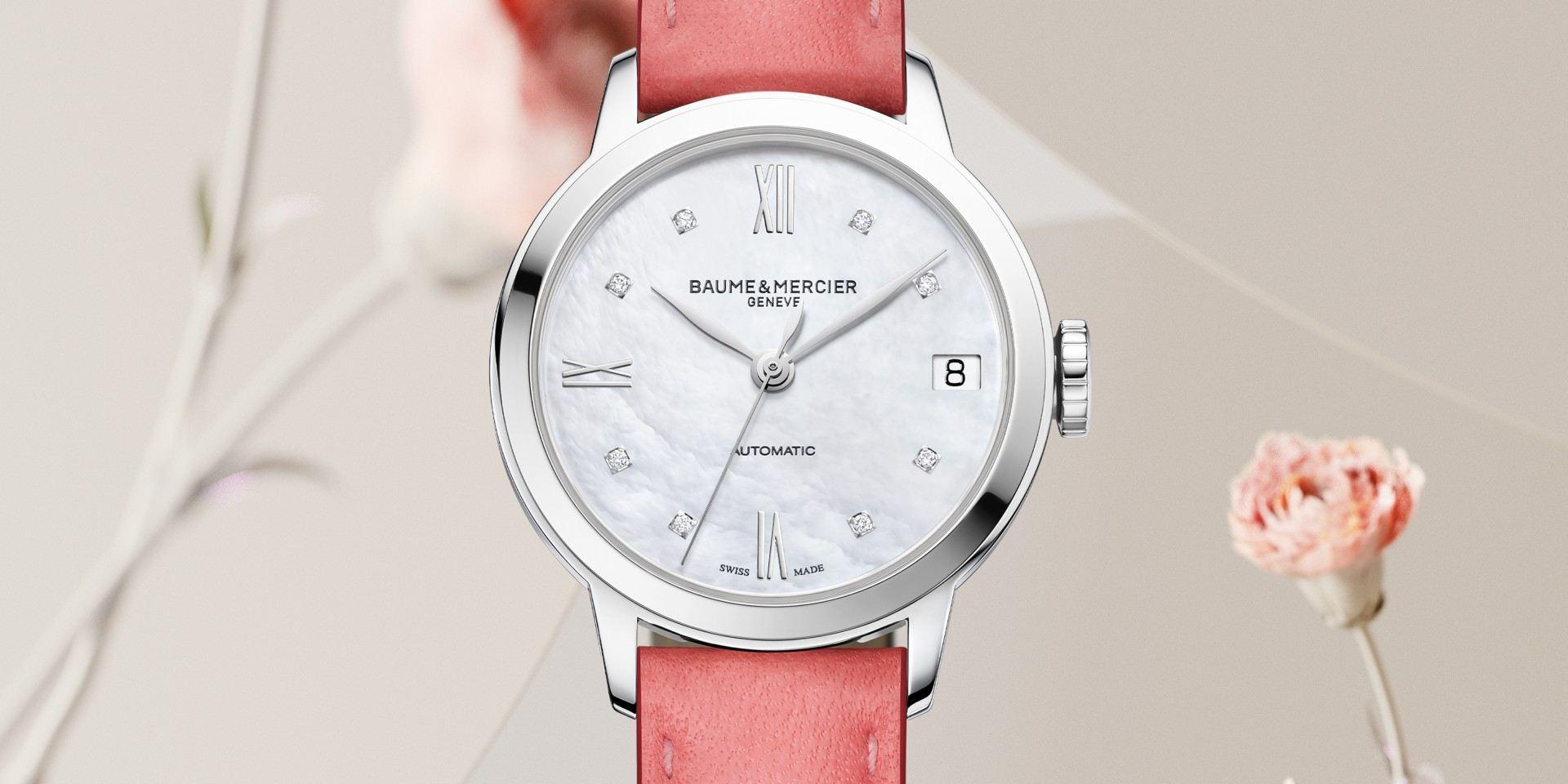 戴著Baumer & Mercier名士克萊斯麥Classima新款女裝腕錶,迎接繽紛夏季
