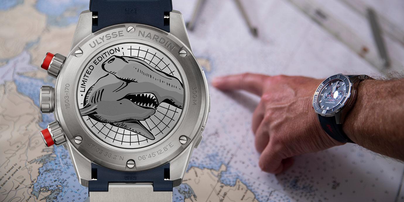 與非營利研究組織OCEARCH合作:雅典錶呈現潛水計時腕錶紅色錘頭鯊限量版