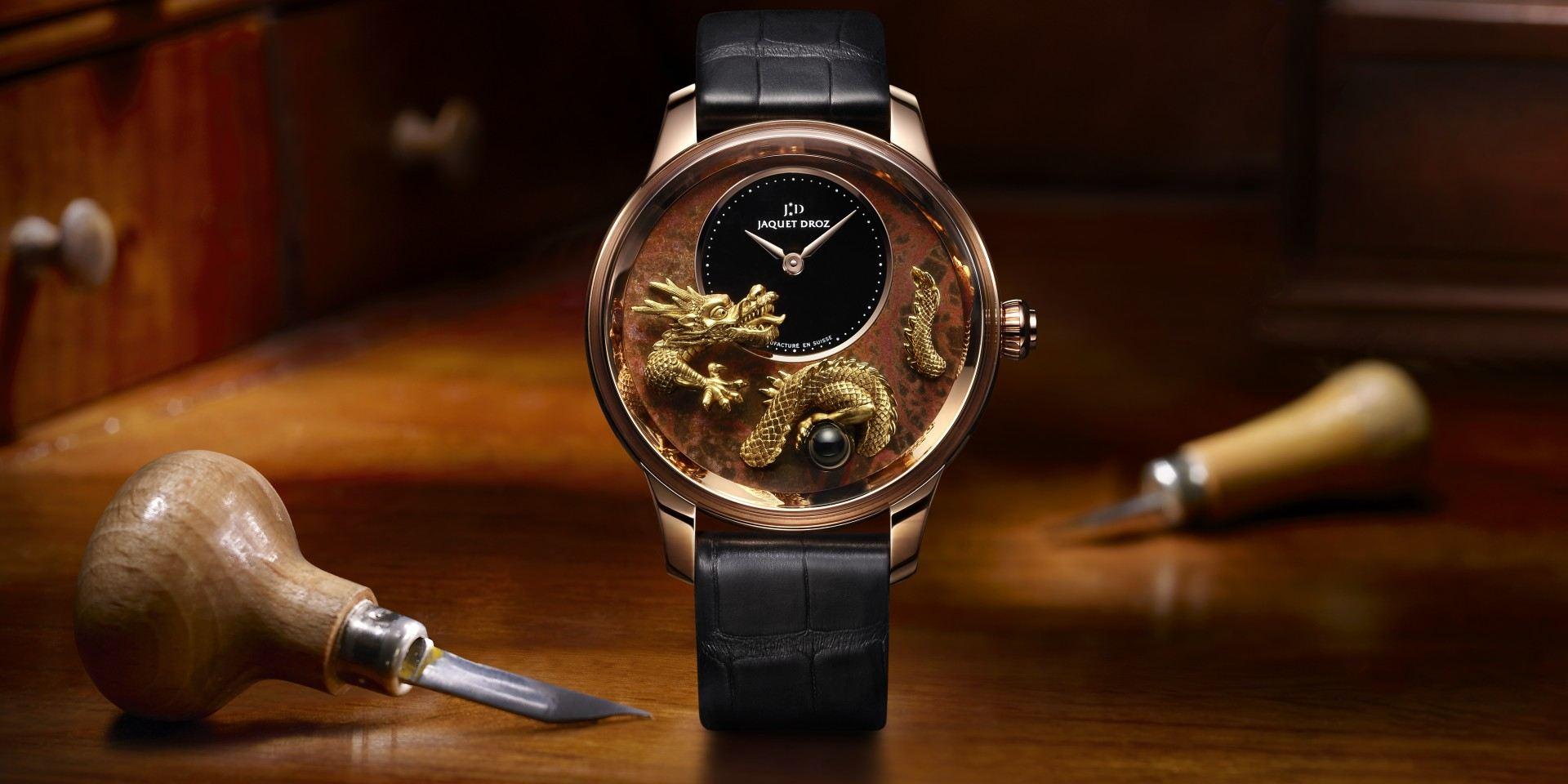 【2020線上錶展】雅克德羅 Petite Heure Minute Relief Dragon 浮雕祥龍時分小針盤腕錶