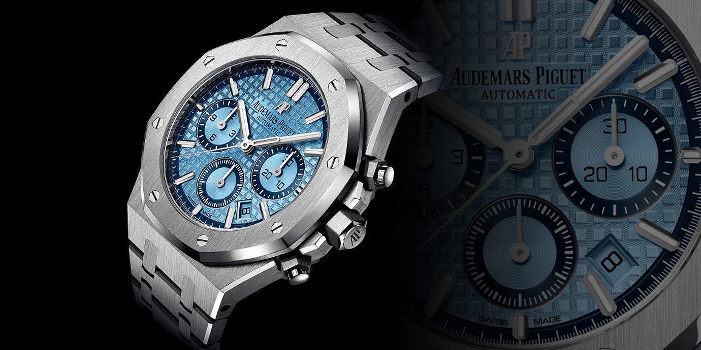 沁涼冰藍面:愛彼Royal Oak計時碼錶18K白金限量款