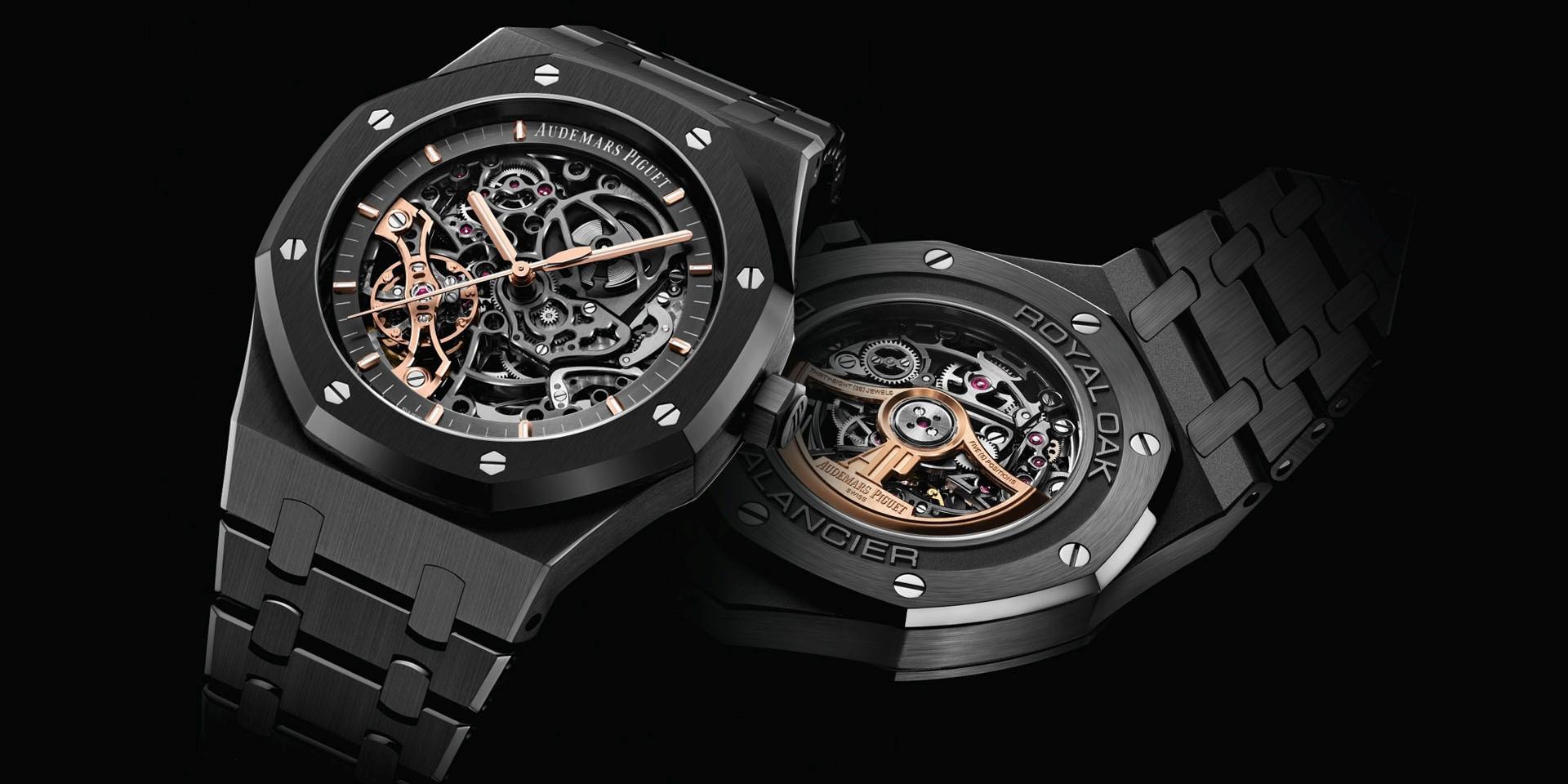 全新黑色美學:愛彼皇家橡樹系列雙擺輪鏤空腕錶黑陶瓷款式