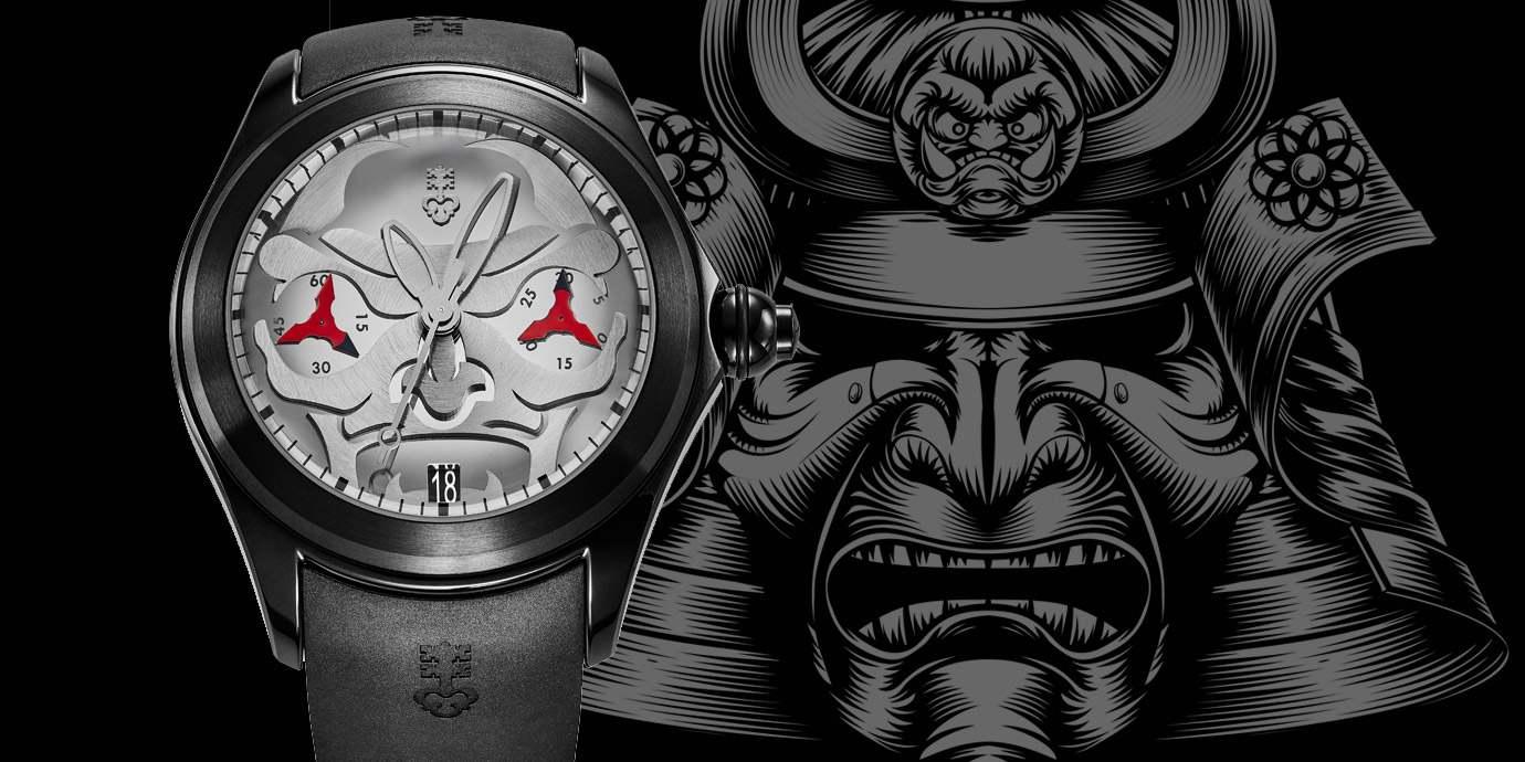 結合日本武士妖怪面具:Corum Bubble 47 Diablo單按把計時碼錶